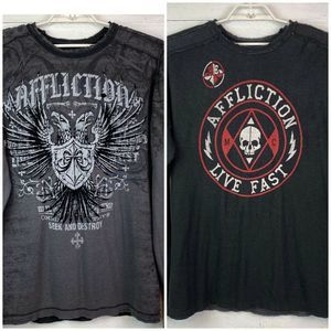 Affliction Reversible Shirt Black Gray Distressed